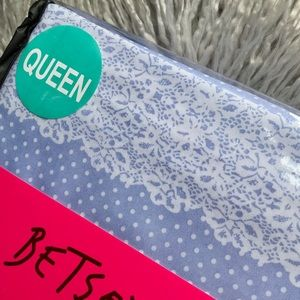 Betsey Johnson Bedding - Betsey Johnson Periwinkle Dot Lace Queen Sheet Set